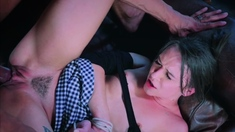 Brunette babe gets hard cock rough style
