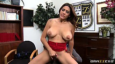 Busty brunette Dean Raylene titty fucks and then pussy fucks on his rod