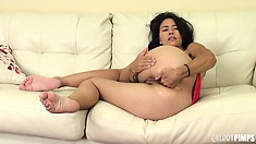 Asian slut, Dana Vespoli, is eager for an orgasm and works her solo magic