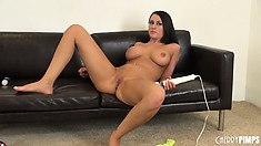 Busty brunette cougar Alexis Grace vibes her sweet vagina in a solo show