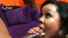 Jessica blows his big black shaft and he pounds her needy peach deep from behind