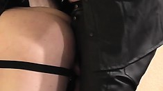 Leather daddy gives it deep and raw to his chubby bottom's big ass