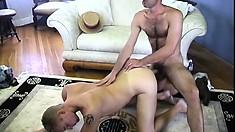 The horny Italian master brings in his farmhand to slurp on his hard stick
