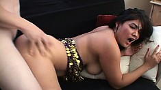 Curvy Indian girl wants to take a bulging bone in her hairy pussy