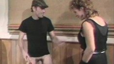 Dude pumps up his prick, jacks off and gets a big titty women to fuck
