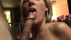 Nasty blonde MILF shows off her wild side with a well hung guy