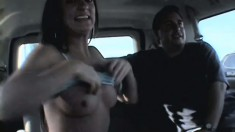 Cute young brunette amateur makes some cash having sex in the van