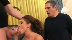 Slutty wife Gianna has two guys sharing her pussy and her man watches