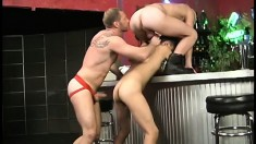 Well built gay dudes perform some nasty asslicking on each other
