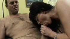 Rick thrusts his rock hard cock between old lady Cindy's legs