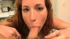 Sex-starved bimbo gets a huge sausage shoved down her throat