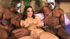 Masked guys with monster cocks teaming up on a little hoochie