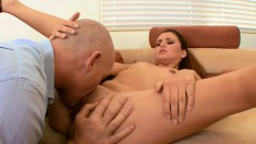 Horny boss seduces the sexy brunette secretary and bangs her wet peach