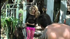Sexy Asian girl in pink fishnet stockings Kat gets her ass fucked hard by Lee Stone