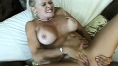 Busty mature blonde gets her moist cooch stuffed with man meat