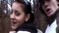 Inviting amateur brunette sucks a dick and gets banged in the woods