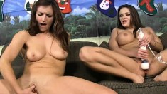 Banging hot brunette bitches work their cunts into a wet mess