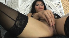 Sweet Asian girl in black stockings Lyn gently fingers her tight peach