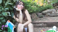 Mesmerizing Oriental teen Ying Charintip gets naughty in the outdoors