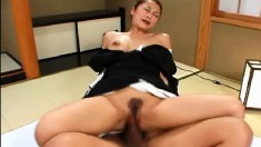 Hot Asian piece of ass gets her hairy pussy completely wrecked