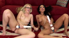 Sultry babes Trinity and Samantha drive each other's pussies to orgasm