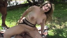 Stacked Daphne Rosen gets double stuffed and takes a mouthful of jizz