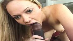 Delightful blonde schoolgirl Amber plays out her interracial fantasies