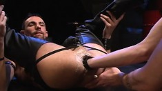 Muscled hunk in black boots gets his ass licked and fisted by his bro