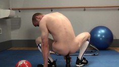 Insatiable athlete loves to experiment using toys for anal fun