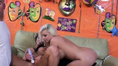 Britney Amber and Nikki Sexxx vibrates clits, deep throat and bang dick