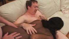 Buxom ebony girl with a superb ass Shandra takes on three white dicks