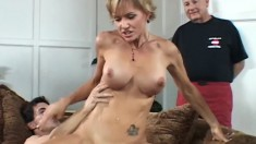 Elegant blonde wife with big boobs needs to get pounded deep and hard