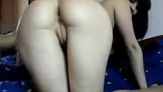 Her round butt is shown by brunette for cam