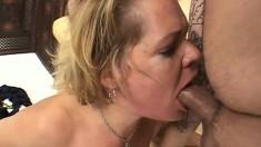 Deep throat pov gagging blowjob from a milf