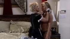 Two mature blonde lesbians lick each others shaved beaver