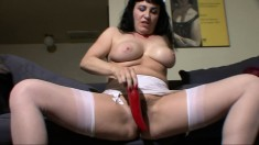 Cute Older Milf Toys Her Slit In Hot Stockings