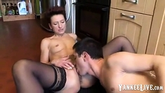 Mature blows dick of her sons friend