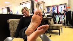 Blonde MILF Fulfills Mans Foot Fetish