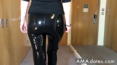 Sexy Latex Liquid Leggings With Red Stilettos Fetish