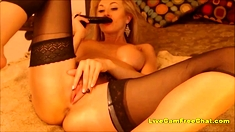 Blonde MILF with BIG Tits in Stockings Big PUSSY