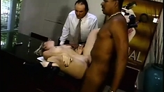 Interracial cuckold threesome fucking